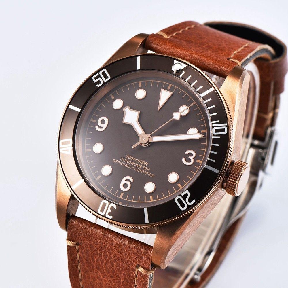 Reloj de pulsera masculino mecánico de 41mm Corgeut, de lujo, de la mejor marca, deportivo, de zafiro, esfera de color café estéril, reloj masculino automático para hombre 2010