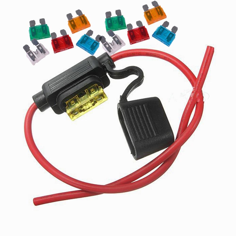 1 set Car 14AWG Auto Standard Blade Fuse holder and 10 fuses 5A 10A 15A 20A 30A each 2 pcs
