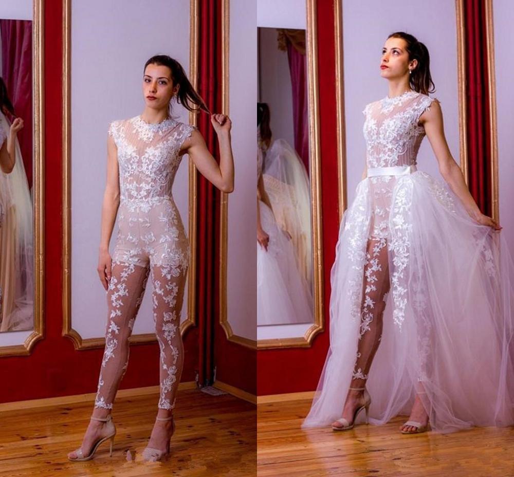 جمبسوت زفاف من الدانتيل بالكامل مع ذيل قابل للفصل ، بدلة رائعة برقبة عالية ، فستان زفاف خارجي مع بنطلون ، 2021