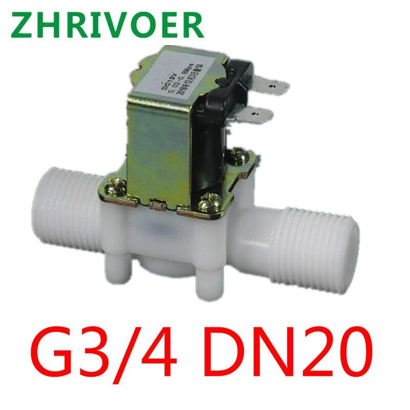 Válvula de solenoide de plástico rosca externa de 4 cuartos G3/4 DN20 válvula de drenaje de válvula de entrada de agua normalmente cerrada