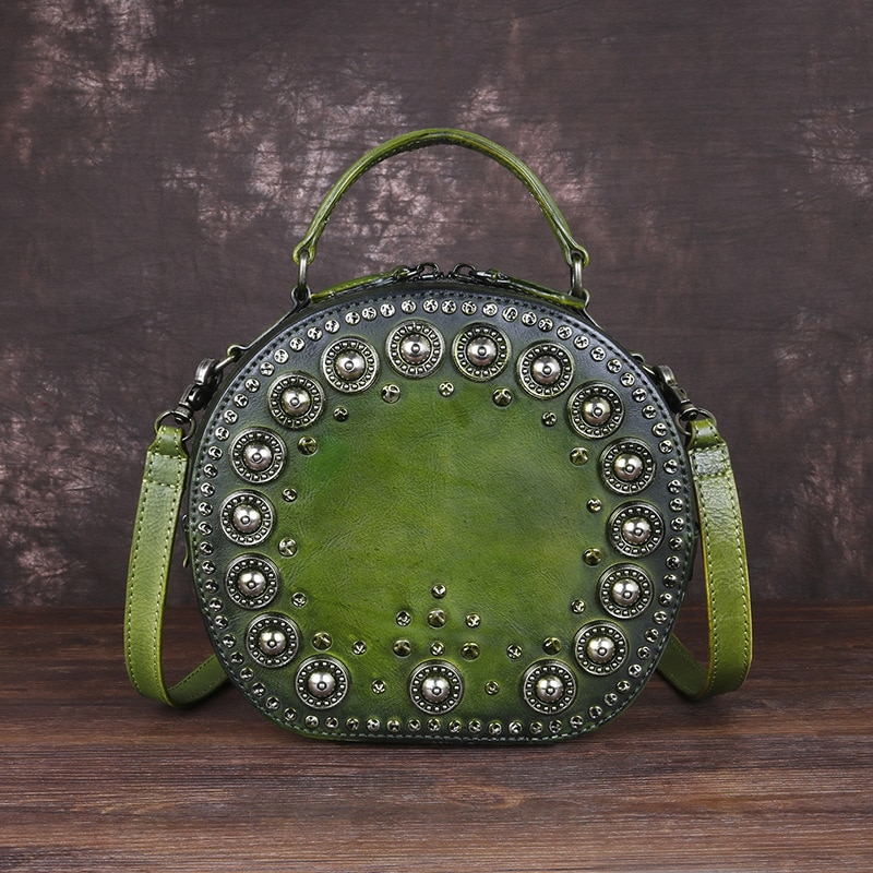 الإناث الرجعية اليدوية برشام دائرية حقيبة يد صغيرة جلد طبيعي المرأة حقيبة 2021 الصيف السيدات موضة حقائب الكتف Crossbody