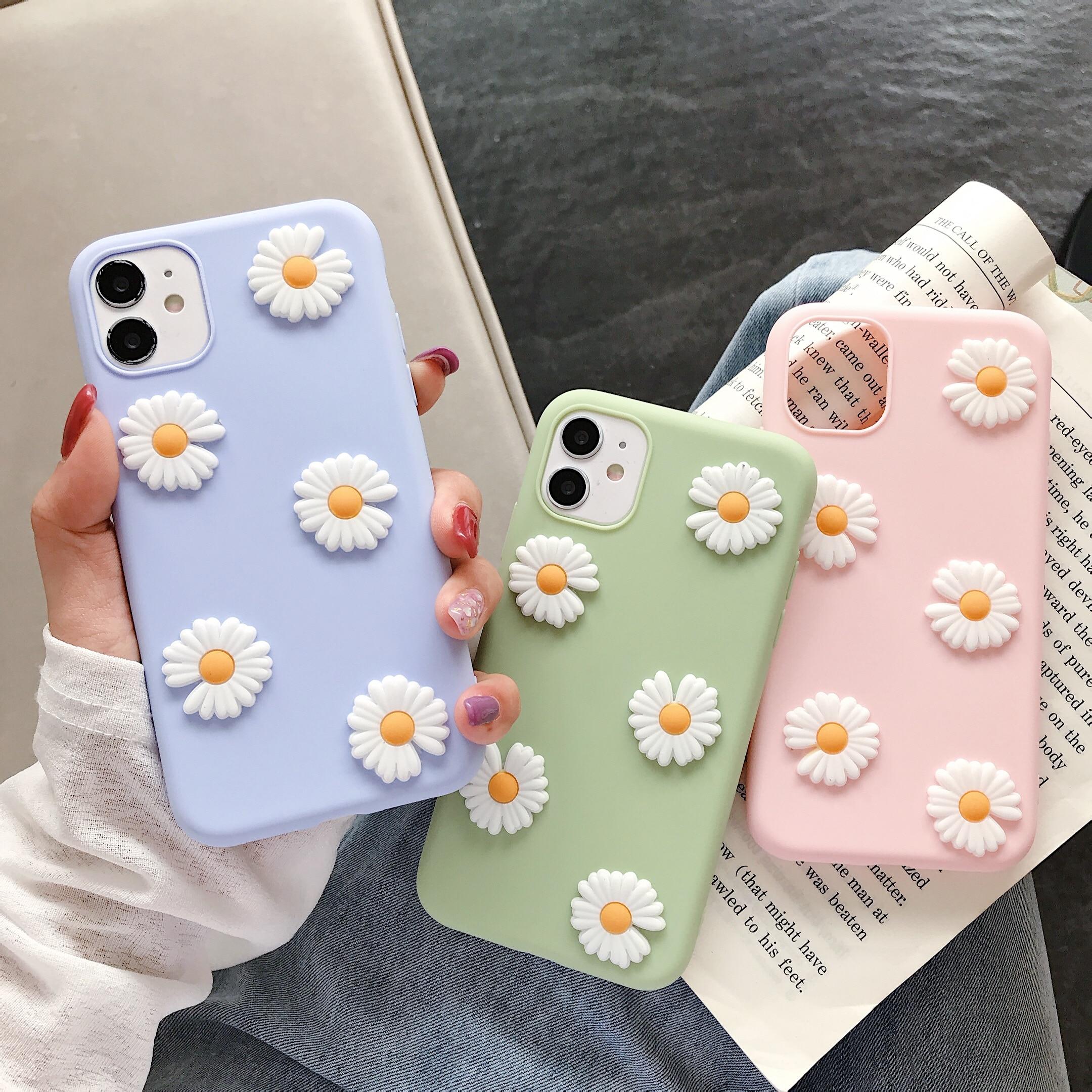 Ins lindo 3D Daisy de silicona suave funda de teléfono para Redmi S2 Y2 4A 4X 5 5Plus 5A 6 6A 6Pro 7 7A 8 8A F1 ir K20 K30 Pro K20Pro K30Pro
