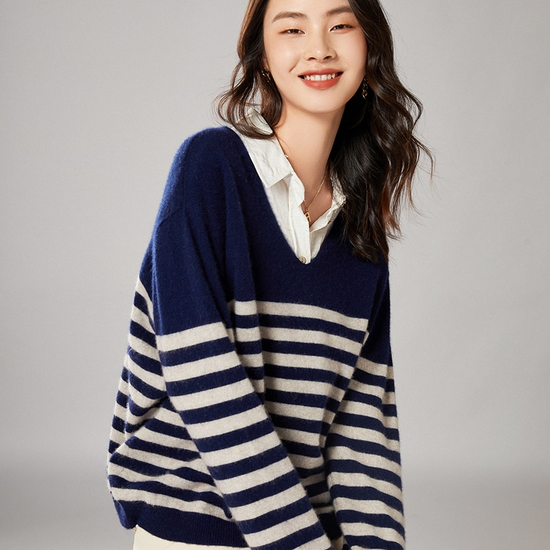 2021 woman winter 100% Cashmere sweaters knitted Pullovers jumper Warm Female V-neck blouse striped long sleeve clothing enlarge