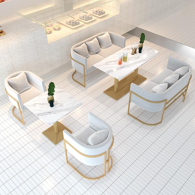 Настраиваемые одиночные диваны и мраморный стол, 3 шт. в наборе, простой скандинавский Железный художественный Рисунок, диваны Lamzac для ресто...