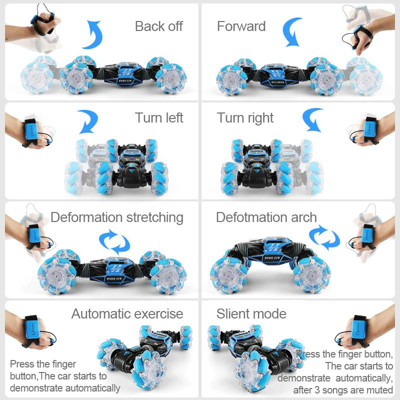 4WD remote control Stunt Car Watch Control Gesture Induction Deformable Electric Drift Car Kids Toys with LED Light enlarge