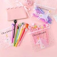 10pcslot cute unicorn gel pen cartoon kawaii pony pens 0 5mm black refill school stationery office suppliers gifts for kids