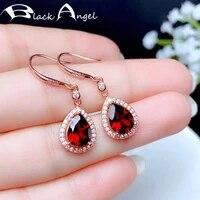 black angel 2020 new 925 silver water drop luxury ruby cz dangle hook earrings for women fashion jewelry wedding christmas gift
