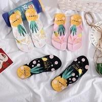 fashion womens sandals 2021 summer women beach vacation slippers cartoon pineapple strawberry printed girls flip flops
