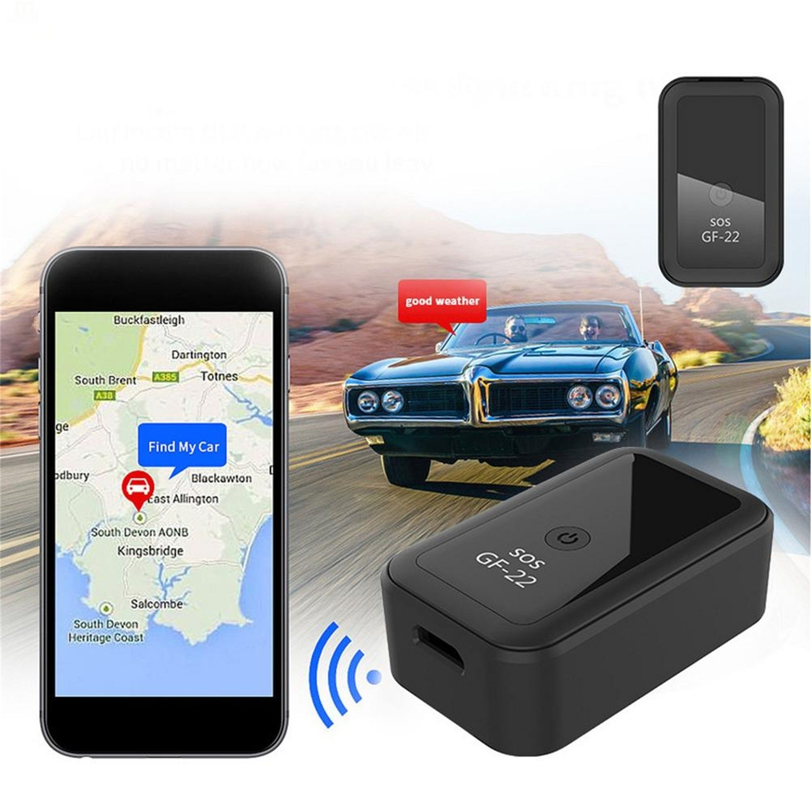 Gf22 carro de rastreamento anti-roubo dispositivo mini carro app em tempo real rastreamento gps localizador anti-perdido dispositivo de rastreamento de gravação gps localizador