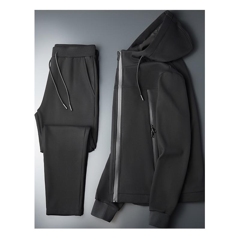 2021 winter leisure sports men's suit hooded plus velvet thickening men's cardigan suit plus size two-piece suit