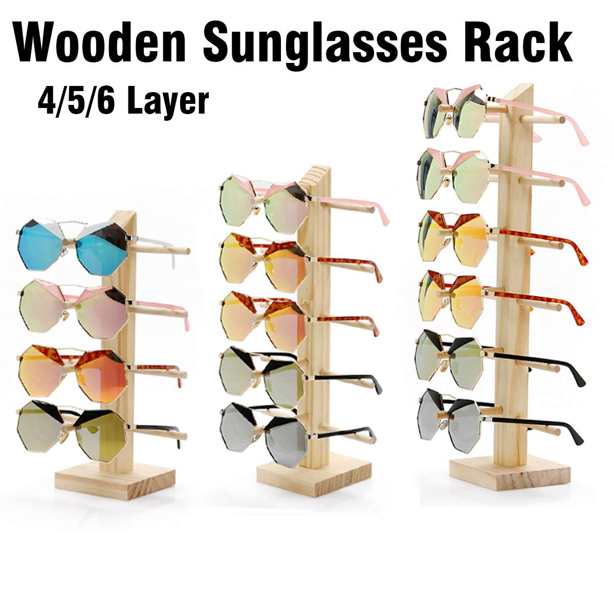 4/5/6 Layer Multi-layer Solid Wood Sunglasses Rack, Eyeglass Rack, Jewelry Display Rack, Used For Glasses Cabinets