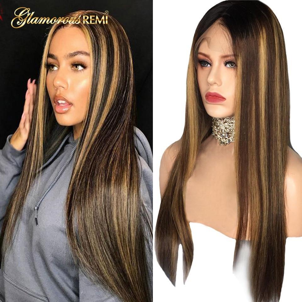 13x4 frente do laço peruca de cor do cabelo humano em linha reta destaque cor do cabelo 150% pré arrancado linha cabelo descorado nós brasileiro remy cabelo