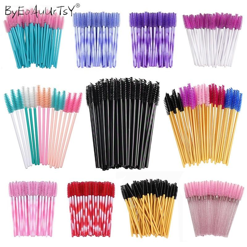 50 pcs/set Eyebrow Mascara Wand Eyelash Spoolie Brushes Wholesale Mix Disposable Lash Wands Eyelash