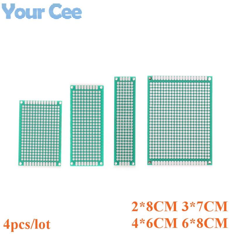 4 pçs/lote 2x8 4x6 5x7 6x8 duplo lado protótipo diy pcb universal placa de circuito impresso protoboard kit 2*8 4*6 5*7 6*8