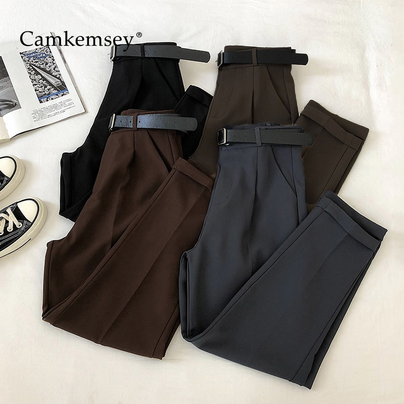 CamKemsey משרד ליידי עבודת פנאי חליפת מכנסיים 2020 קוריאני מוצק אביב סתיו מקרית גבוהה מותן באורך קרסול הרמון מכנסיים