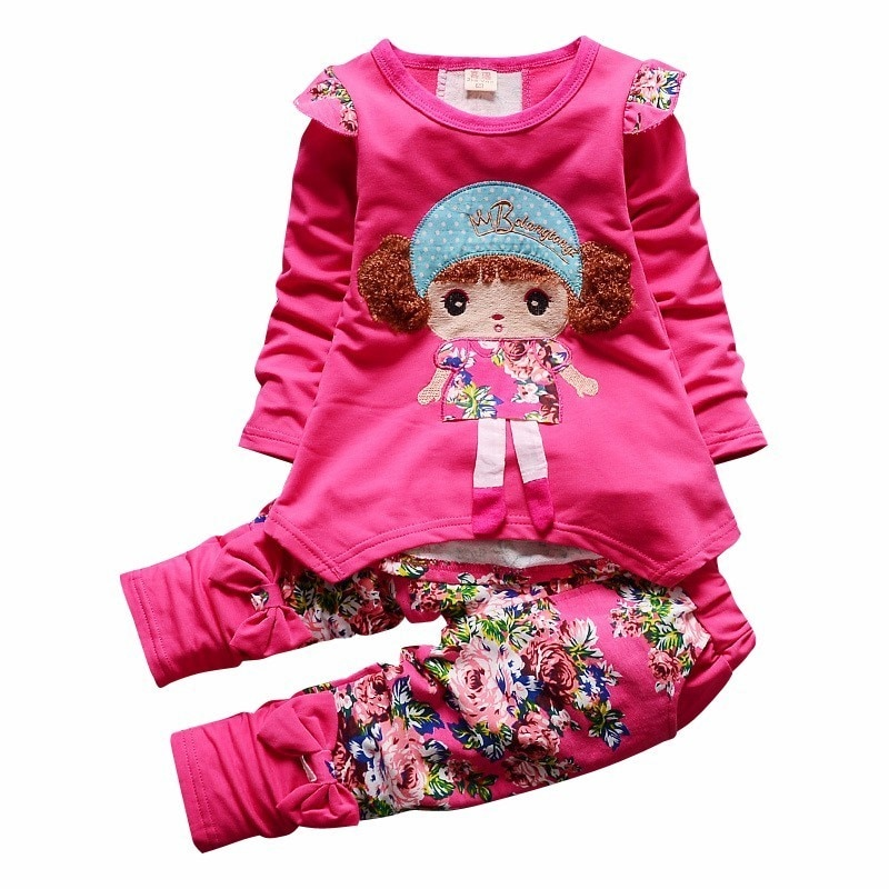 2018 new spring children girls clothing sets mouse early autumn clothes bow tops t shirt leggings pants baby kids 2 pcs suit New Spring Autumn Kids Cartoon Clothes Suit Baby Girls Flower T Shirt Pants 2Pcs/Sets Infant Cotton Clothing Children Sportswear