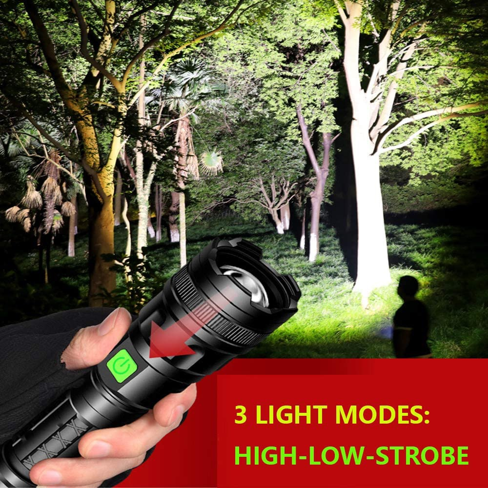 60000lm LED Flashlight USB Rechargeable Flashlight Power Tips Zoomable Torch Lanterna 18650 Battery Perfect for Camping Hiking enlarge