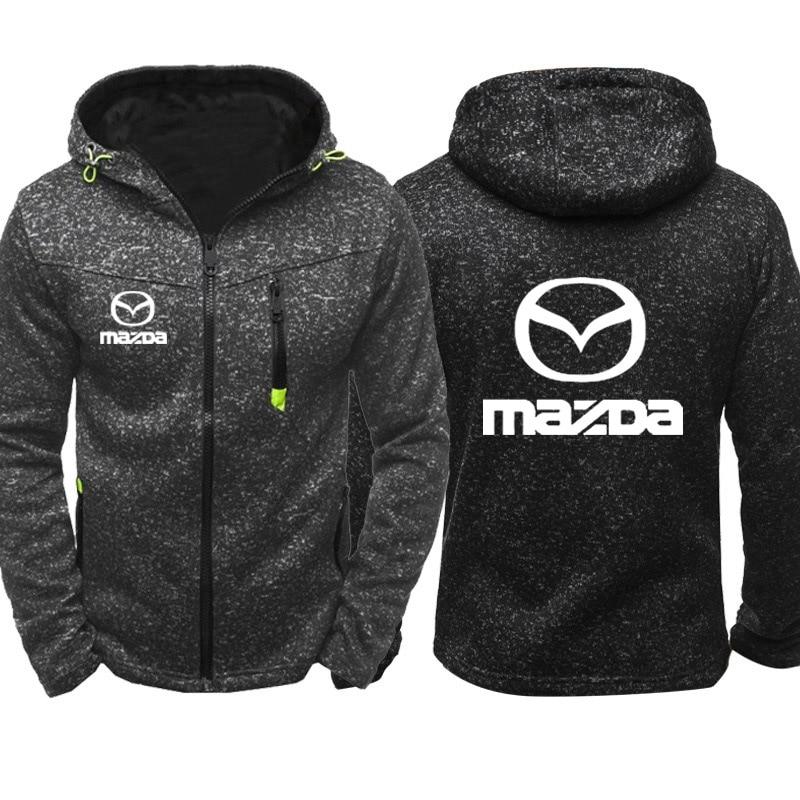 Sudaderas con capucha para hombre Mazda Car Logo Print Casual Hip Hop Harajuku manga larga sudaderas con capucha para hombre cremallera Chaqueta Hombre Hoody ropa
