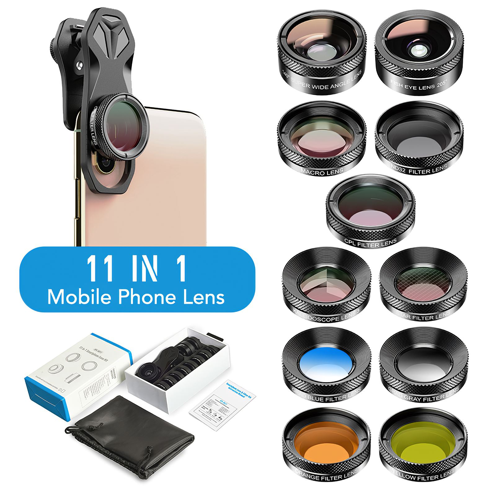 11 in1 الهاتف عدسة الكاميرا مجموعة للآيفون لسامسونج الهاتف عدسة مجموعة فيش زاوية واسعة كامل/غراد تصفية CPL ND ماكرو عدسة المحمول