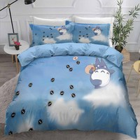 Home Textiles 3D Totoro Bedding Set Cartoon Character Boy Girls Kids Bed Set 2/3pcs Bed Linen Set Pillowcase Duvet Cover Sets