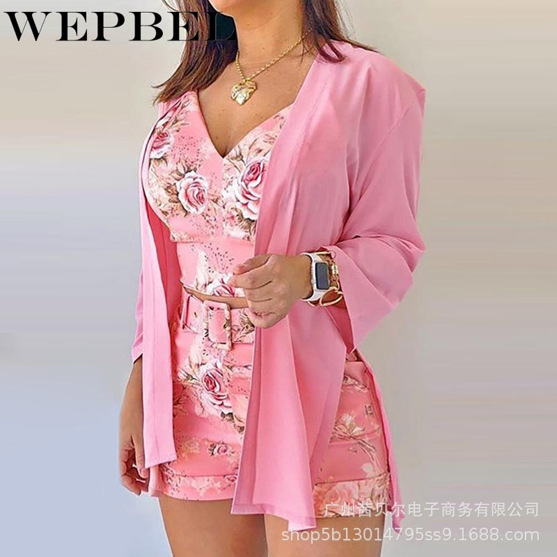 WEPBEL Women Flower Printed Sexy Suit Casual Long Sleeve Cardigan Coat + V-neck Spaghetti Strap Short Top + Lace-up Shorts Suit