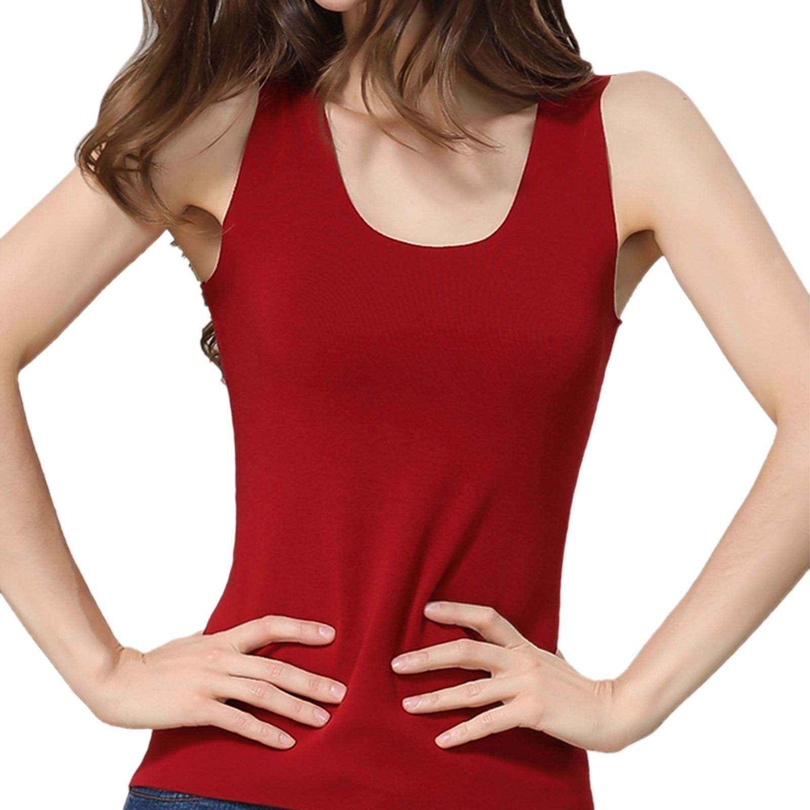 Women Autumn And Winter Velvet Seamless Seamless Seamless Warm Vest Plus Size Heating Underwear Solid Color Heating Underwear