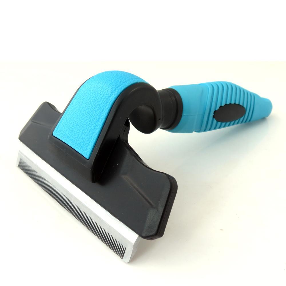 Peine de limpieza corporal antideslizante para cachorros Paipaitek, peine de acero inoxidable para el cuidado de perros con manija de rosca para eliminar nudos de pelo