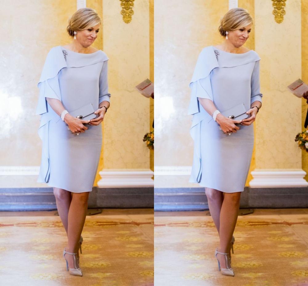Vestidos cortos hasta la rodilla de Madre de la novia/novio 2020 capas Simple vaina volantes boda vestidos de fiesta kurti vestidos de fiesta