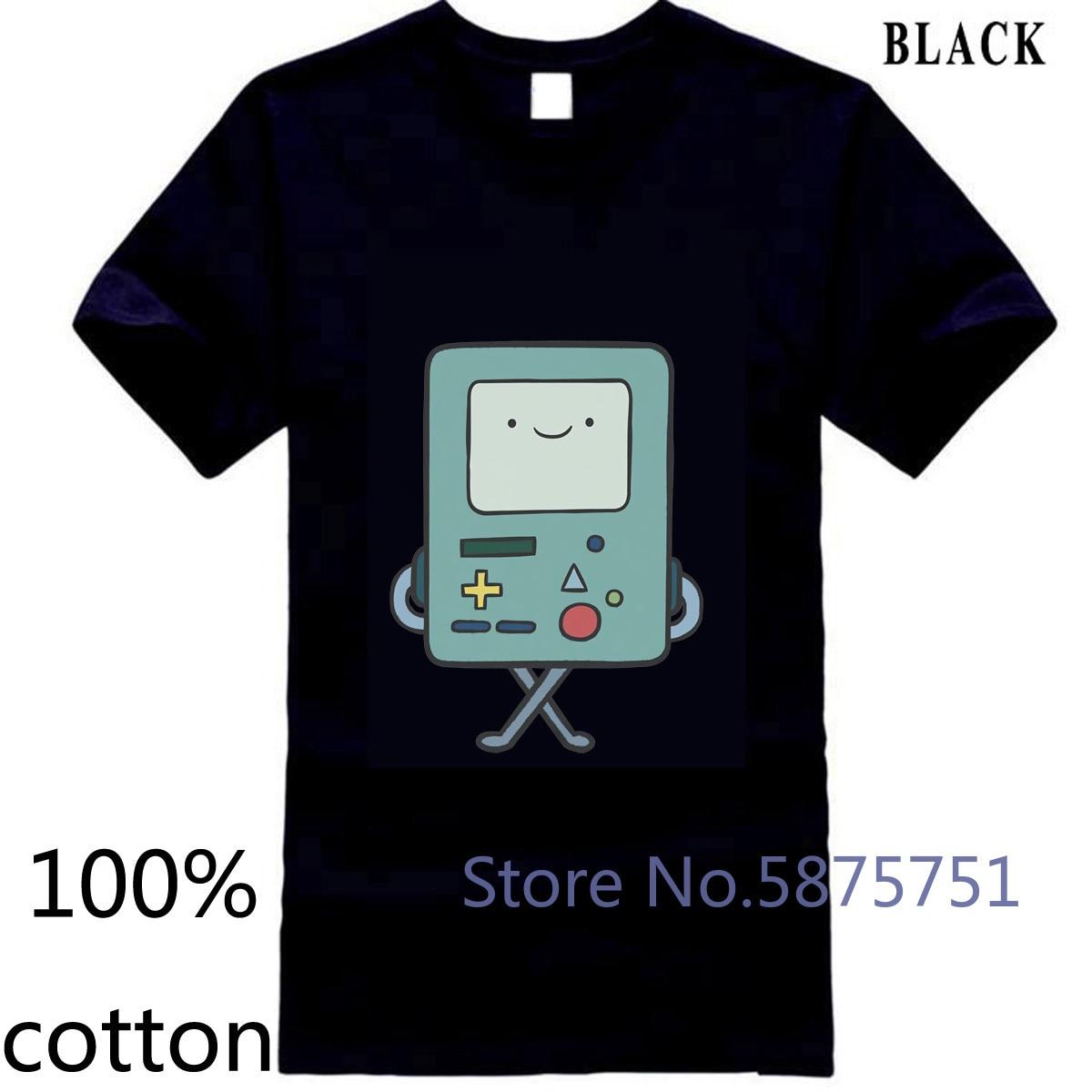Cartoon network adventure time bmo men sm para nova impressão quente cor sólida camiseta masculina topos camisetas 100% algodão