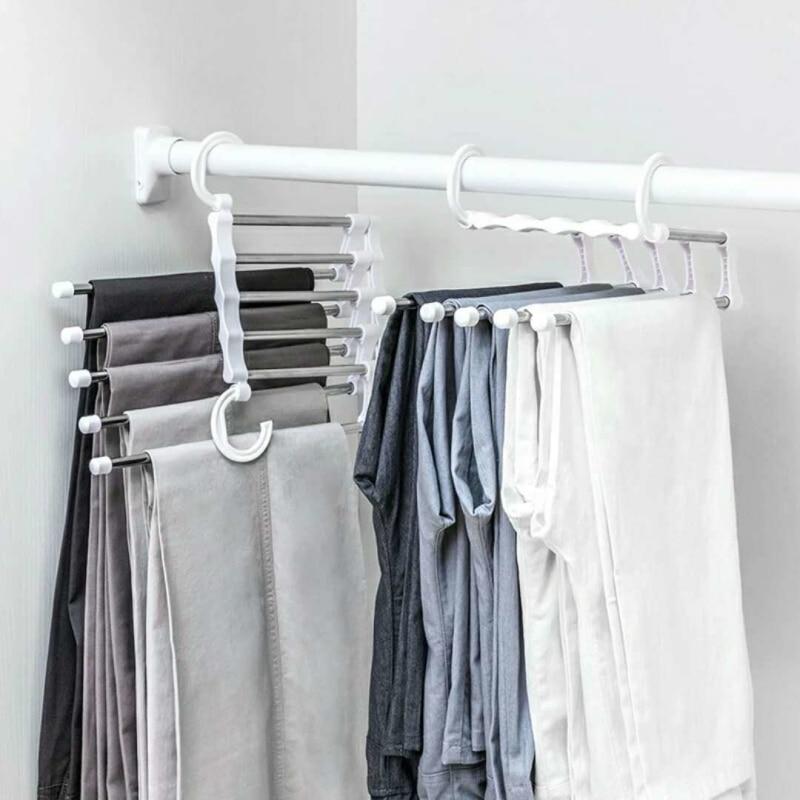 Multi-function Pants Hanger 5 Tier Portable Stainless Steel Pants Racks Trousers Hanger Clothing Storage Organization
