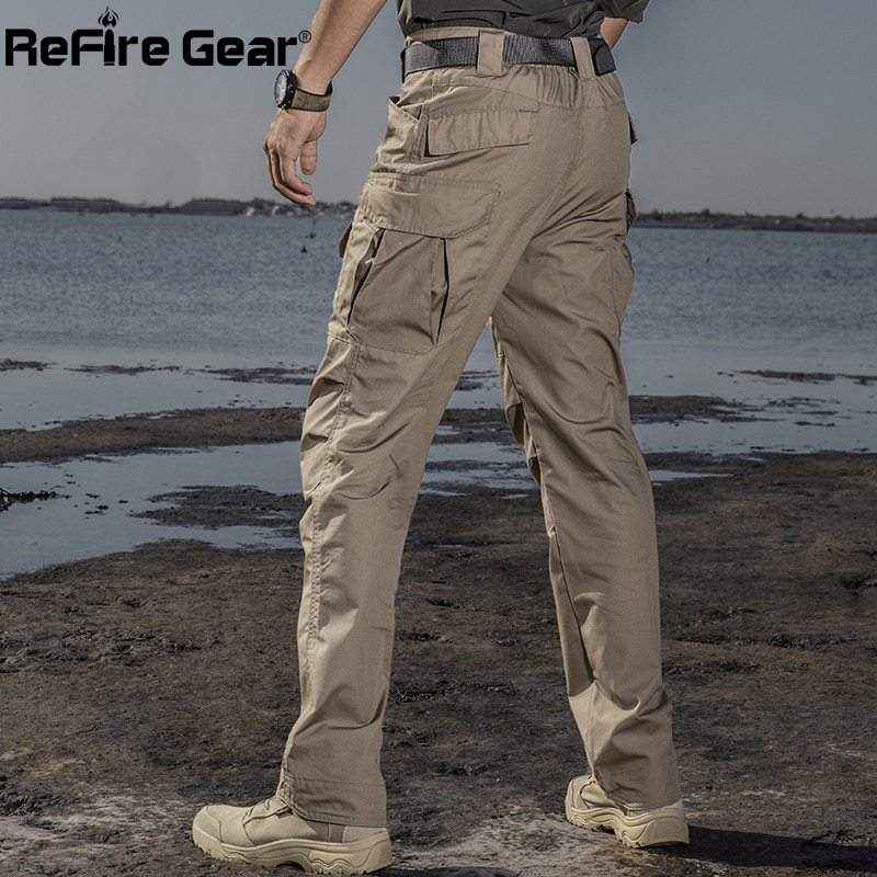 ReFire Gear IX2 مقاوم للماء السراويل العسكرية التكتيكية الرجال الخريف عادية مزق توقف القطن البضائع بنطلون الجيش القتالية متعددة جيب بانت