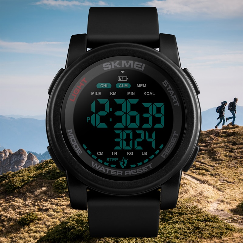 SKMEI Brand Luxury Watch Men Calorie Pedometer Sport Wristwatch Waterproof Luminous Electronic Bracelet Men's Military Watches