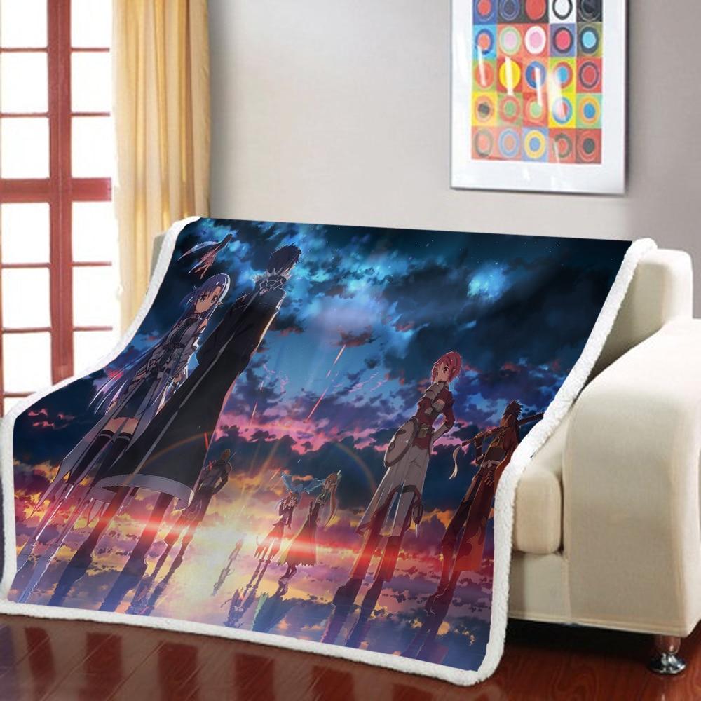 Sword Art Online, manta Sherpa con dibujos de Anime, manta para niños y niñas, manta ponderada, colcha para niños, manta para sofá