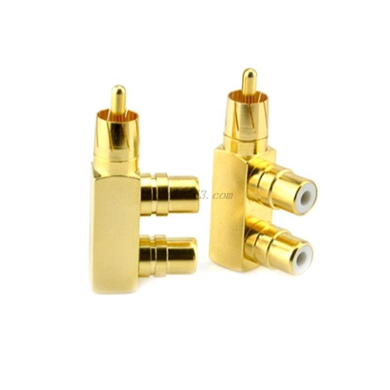 1 unidad de cobre chapado en oro 1 RCA macho a 2 RCA AV hembra adaptador de Audio y vídeo enchufe divisor convertidor conector