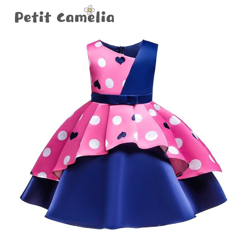 Vestido de verão quente princesa saia meninas vestido de festa crianças casual costura cor drapeado crianças formal traje casamento