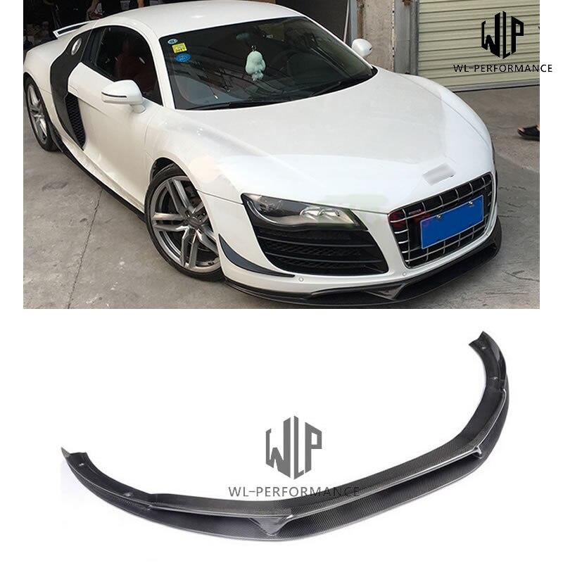 R8 GT V8 V10 fibra de carbono de alta calidad frente labio divisor para Audi R8 GT V8 V10 parachoques delantero protector coche-styling 06-15