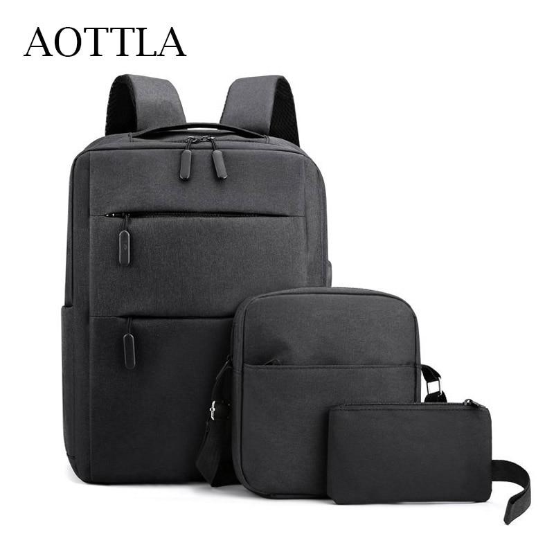 AOTTLA الرجال على ظهره 3 قطعة مجموعة محمول على ظهره أكسفورد القماش حقيبة ظهر مدرسية مقاومة للماء السفر عادية تنوعا حقيبة الكتف للرجال