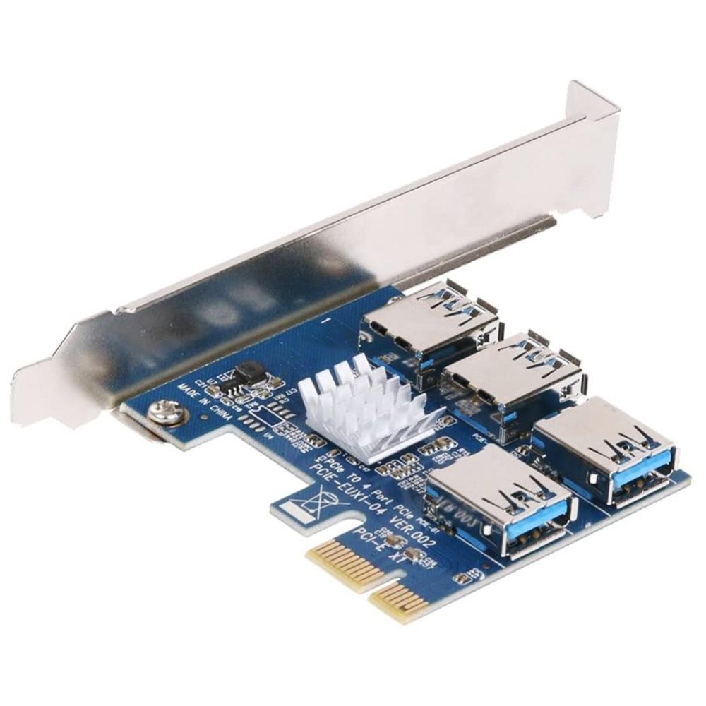 Adaptateur PCI-E à PCI-E 1 tour 4, emplacement pci-express 1x à 16x, USB 3.0, carte spéciale Riser, convertisseur PCIe pour le minage BTC