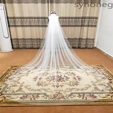 Image physique élégant mariage voile 3 mètres de Long doux voiles de mariée avec peigne blanc 1 couches couleur ivoire mariée