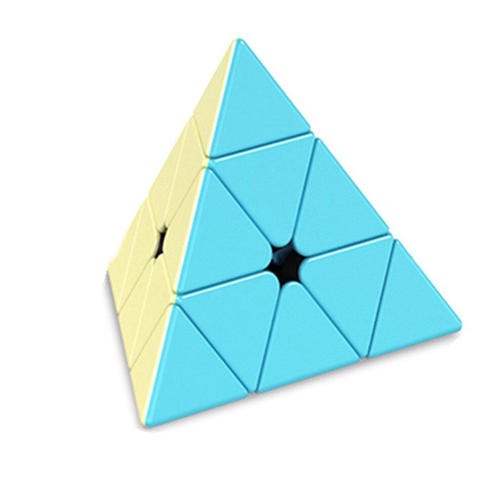 Nova Cor Meilong Jinzita Pirâmide Enigma Cube Marcaron Série Cubo Cor Dos Desenhos Animados Desempenho Competitivo