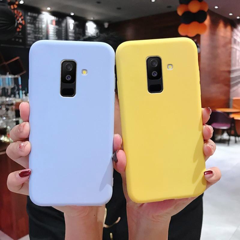 Miękkie silikonowe etui do Samsung Galaxy J2 Pro J4 rdzeń J6 A6 A8 Plus A9 A7 J8 2018 A750 TPU matowa tylna śliczne powłoki