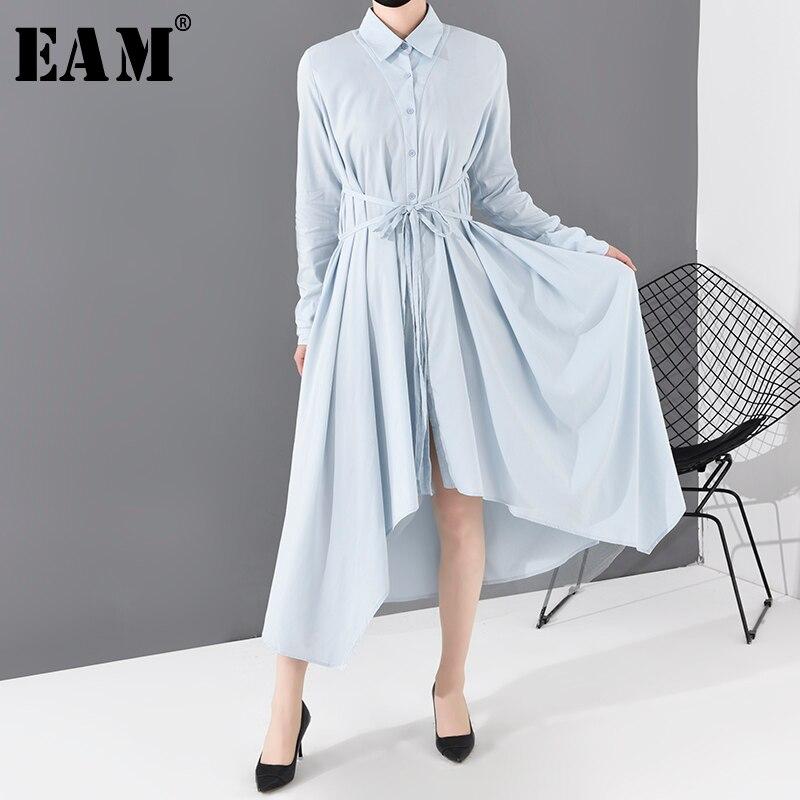 [EAM] vestido azul asimétrico con dobladillo de solapa nueva manga larga holgado moda tendencia primavera otoño 2020 JO665