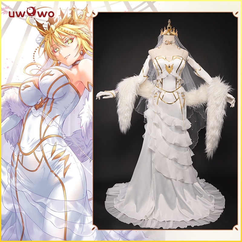 Uwowo Anime Fate Grand Order/FGO Arturia Pendragon Lancer White Bride Dress Lovely Sexy Dinner Suit Costume For Women uwowo anime fate grand order bb maid cosplay costume uniform fgo women sexy dress for women