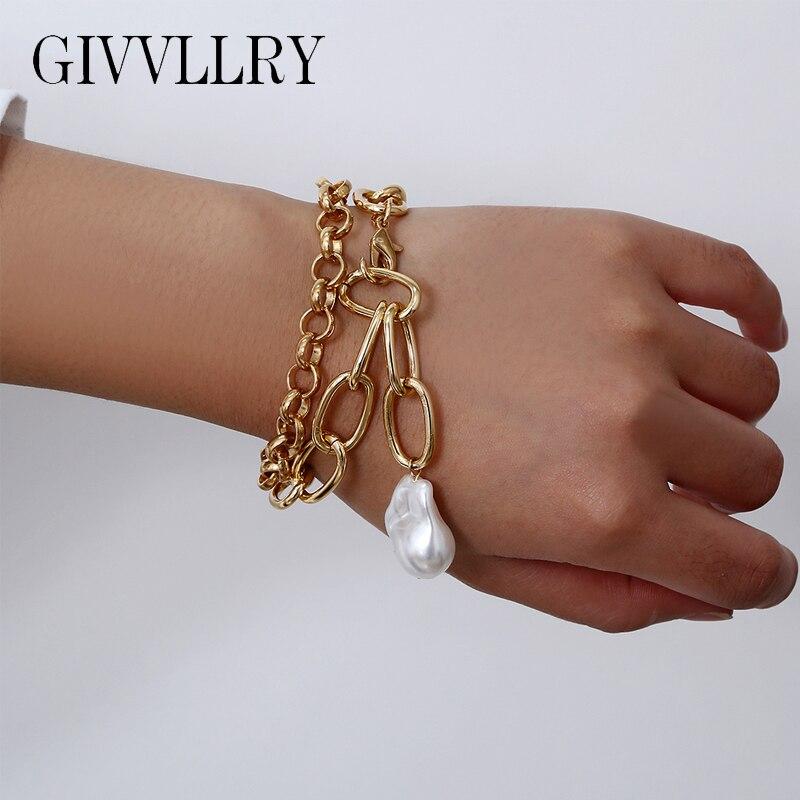 Женский винтажный браслет с жемчугом в стиле барокко, массивный браслет в стиле панк и золотистого цвета, модные массивные ювелирные издели...