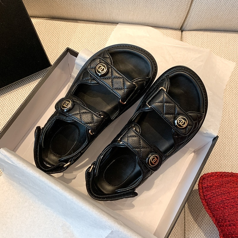 Moda quente venda sandálias femininas de couro genuíno sapatos femininos de luxo sandálias de gan