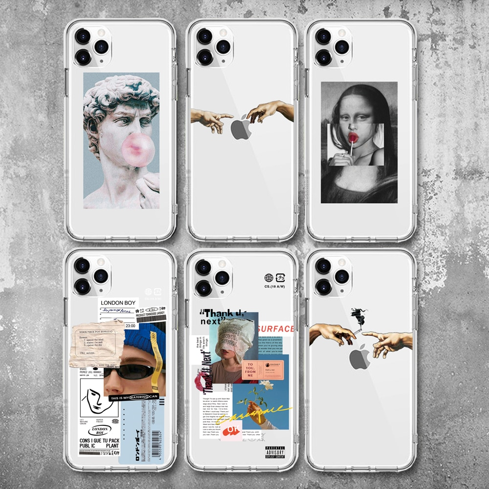 Great Art Aesthetic David Mona Lisa Case For iPhone 12 X XR XS Max 5 5S SE Soft TPU For iPhone 7 8 6