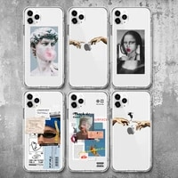 great art aesthetic david mona lisa case for iphone 12 12pro x xr xs se 2020 soft tpu for iphone 7 8 plus 6 6s 11 pro max covers
