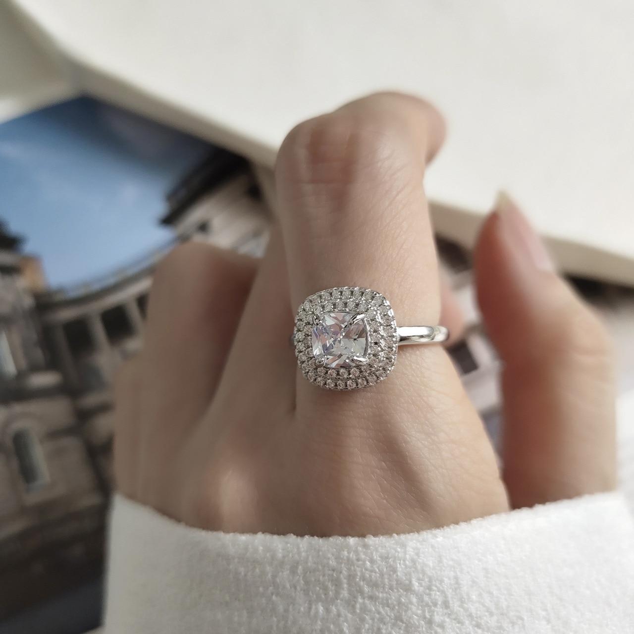 Anillo de Plata de Ley 925 de estilo coreano, anillo de diamante de zirconio Luz brillante de Islandia para celebridades en línea, versátil y sencillo