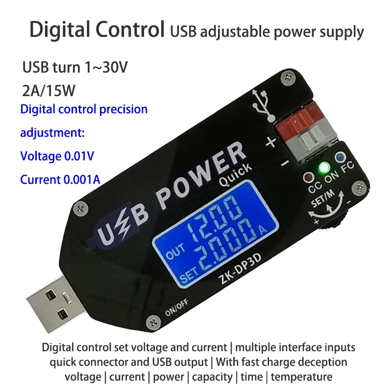 CNC USB TYEPE-C convertidor CC CV 1-30V 2A 15W fuente de alimentación regulable QC2.0 3,0 AFC