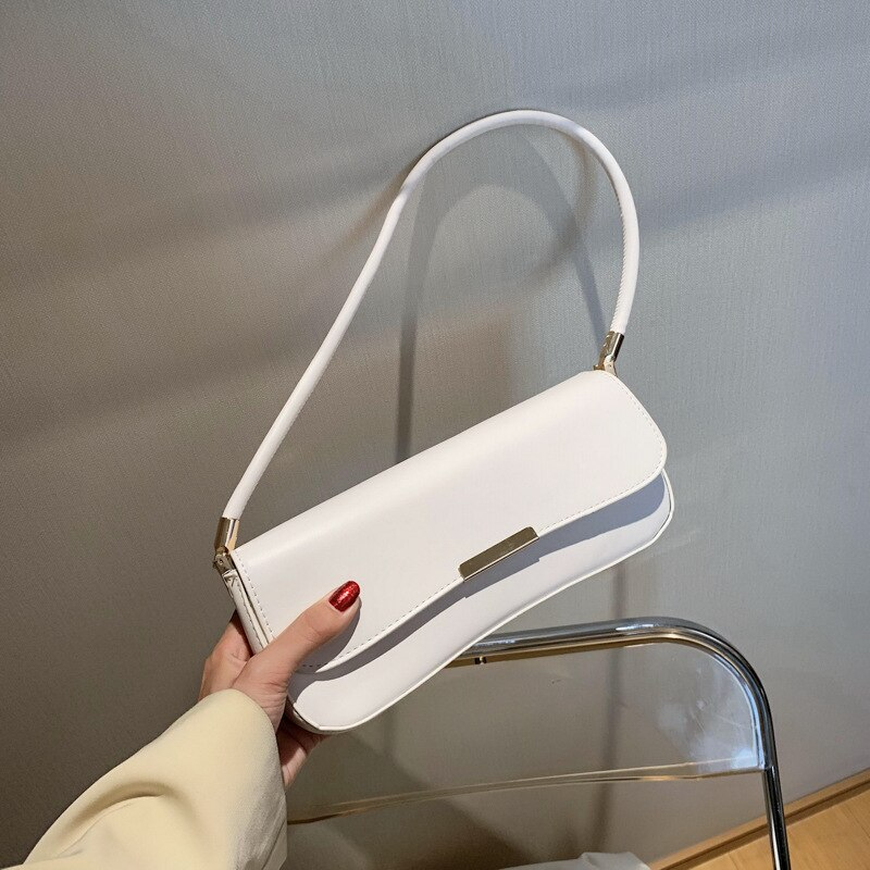 Luxury Leather Handbags 2020 Summer Underarm Shoulder Bag Baguette Shape Bag Wild Tote Bags For Women Bolsa de hombro